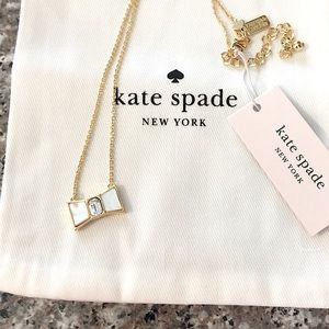 NWT Kate Spade Mother Of Pearl Bow Necklace